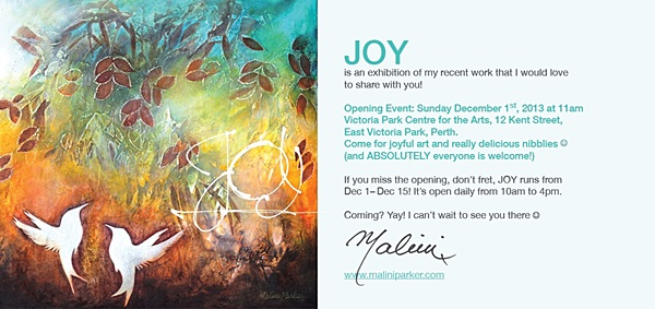 Invitation to JOY by Malini Parker